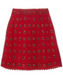 Moschino Vintage - eyelet embellished mini skirt - women - Wool - 44 - RED