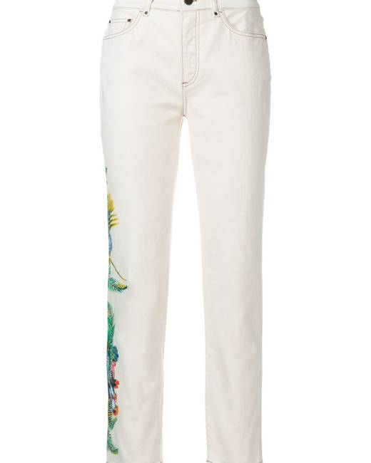 Mr & Mrs Italy cropped floral detail jeans - Nude & Neutrals