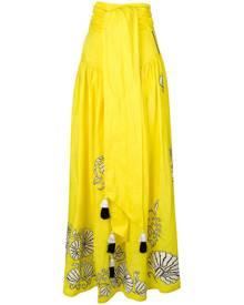 Yuliya Magdych - tassel maxi skirt - women - Linen/Flax - S, M, L - YELLOW & ORANGE
