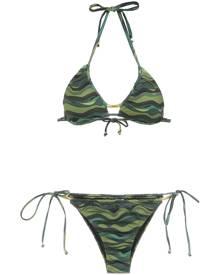 Amir Slama wave print bikini set - Green
