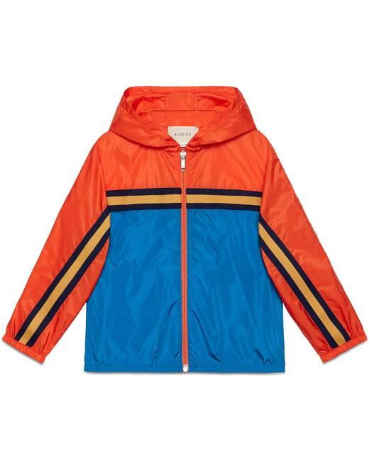 Gucci Kids Children's nylon jacket with tiger - Blue