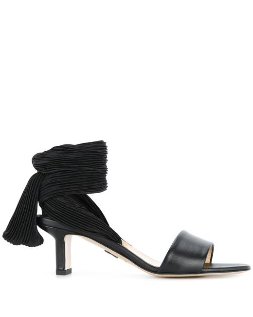 pleated lace up strap sandals Black