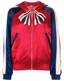 Gucci colour block hooded bomber jacket with Tiger print - Red