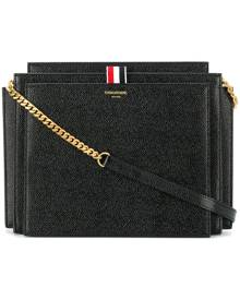 Thom Browne Accordion Bag (29,5x22x9 Cm) With Chain Shoulder Strap In Pebble Lucido Leather - Black