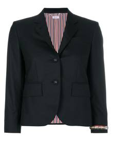Thom Browne Classic Single Breasted Sport Coat With Wristwatch Applique & Combo Lapel In Super 120's Twill - Black