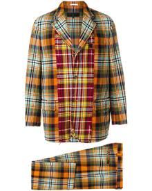Comme Des Garçons Vintage - plaid two-piece distressed suit - men - Wool/Nylon - M - YELLOW & ORANGE