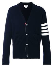 Thom Browne V-Neck Cardigan With 4-Bar Stripe In Navy Cashmere - Blue