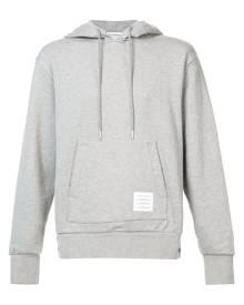 Thom Browne Center-Back Stripe Jersey Hoodie - Grey