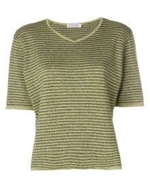 Yves Saint Laurent Vintage striped knitted V-neck top - Green