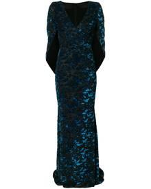 Talbot Runhof velvet cape gown - Blue