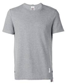 Thom Browne - Center-Back Stripe Relaxed Fit Short Sleeve Pique Tee - men - Cotton - 0, 1 - GREY