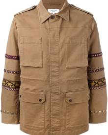 Fashion Clinic Timeless embroidered sleeve field jacket - Brown