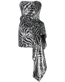 Halpern Sequin Embellished Corset Dress - Black
