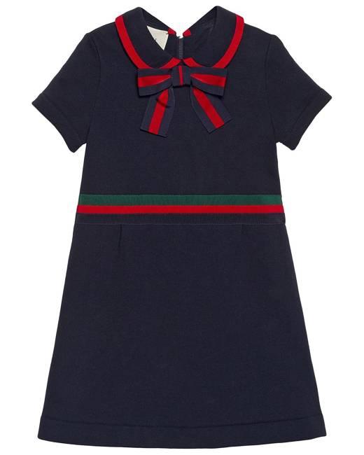 Gucci Kids Children's cotton dress with Web Bow - Blue