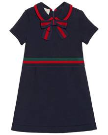 Gucci Kids Children's cotton dress with Web Bow - Blue