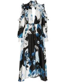 Off-White floral flared silk midi dress - Blue