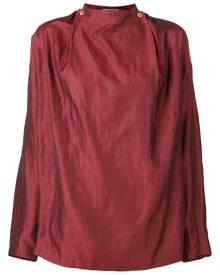 Issey Miyake Vintage 1980's collarless shirt - Red