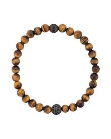 Nialaya Jewelry CZ tiger eye beaded bracelet - Gold