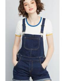 ModCloth Playful Personality Shortalls in Dark Wash in XS - Long Vintage Inspired