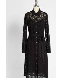 Lace and Love Letters Midi Shirt Cotton Dress in M - Long Vintage Inspired by ModCloth
