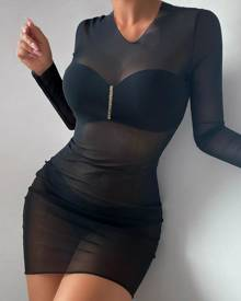 boutiquefeel Ruched Sheer Mesh Bodycon Dress