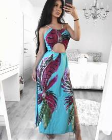 chicme Bohemian Style High Slit Maxi Slip Dress