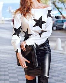 chicme Fashion Star Print One Shoulder Casual Top