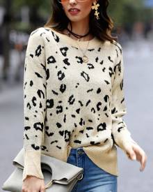 chicme Round Neck Leopard Print Casual Sweater