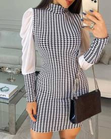 chicme Mesh Patch Houndstooth Print Puff Sleeve Work Dress
