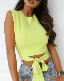 chicme Tie Front Backless Knit Crop Top