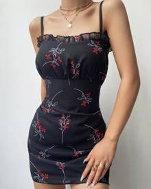 chicme Floral Print Ruched Mesh Bodycon Dress