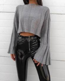chicme Knit Flared Sleeves Crop Sweater