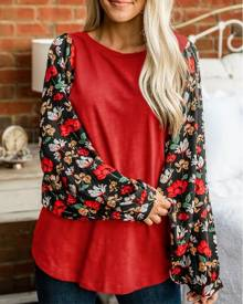 chicme Floral Print Colorblock Knit Casual Top