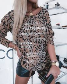 chicme Leopard Print Long Sleeve Top