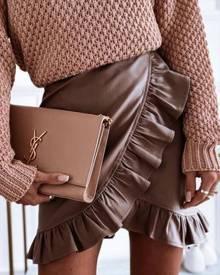 chicme PU Leather Ruffle Hem Mini Skirt