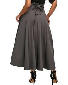 ivrose High Waist Bowknot Pleated Maxi Skirt