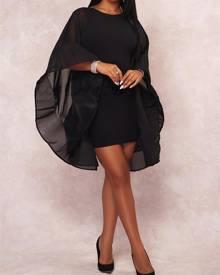 ivrose Open Back Flare Sleeve Mini Dress
