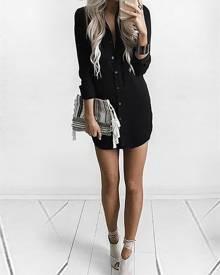 ivrose Solid Color High-Low Hem Casual Shirt Dress