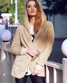 ivrose Fluffy Pocket Design Hooded Oversized Coat