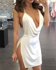 ivrose Sexy Backless Halter Neck Plunged Dress