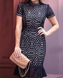 ivrose Stylish Hollow Out Lace High Waist Ruched Hem Mini Dress