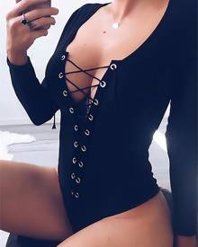 ivrose Eyelet Lace-up Bodysuit - Black