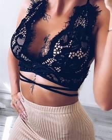 ivrose Halter Eyelash Crochet Lace Crisscross Back Crop Top