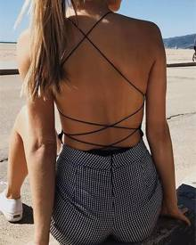 ivrose Lace-up Backless Cami Bodysuit
