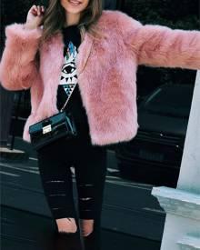 ivrose Plus Size Fluffy Open Front Fur Coat