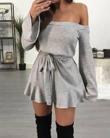 ivrose Off Shoulder Flare Sleeve Self Belted Mini Dress