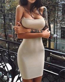 ivrose Spaghetti Strap Bodycon Mini Dress