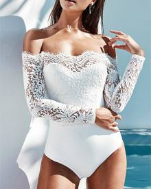 ivrose Off Shoulder Eyelash Lace Crochet Slinky Bodysuit