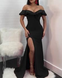 ivrose Ruffled Off Shoulder High Slit Maxi Dress - Black