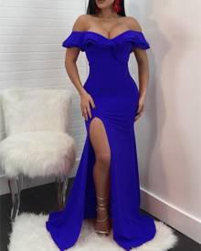 ivrose Ruffled Off Shoulder High Slit Maxi Dress - Blue